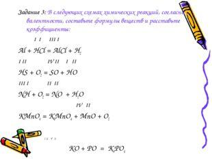 Задание 3: В следующих схемах химических реакций, согласно валентности, соста