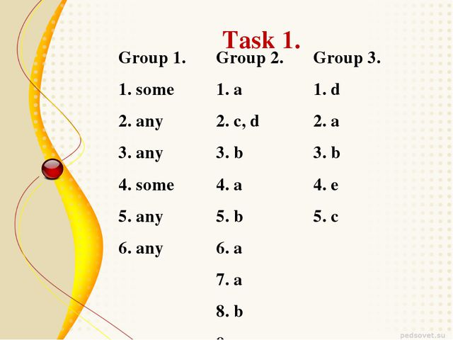 Task 1. Group 1.	Group 2.	Group 3. 1. some	1. a	1. d 2. any	2. c, d	2. a 3. a...