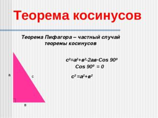Теорема косинусов а в с с2=а2+в2-2ав·Сos 900 с2 =а2+в2 Теорема Пифагора – час
