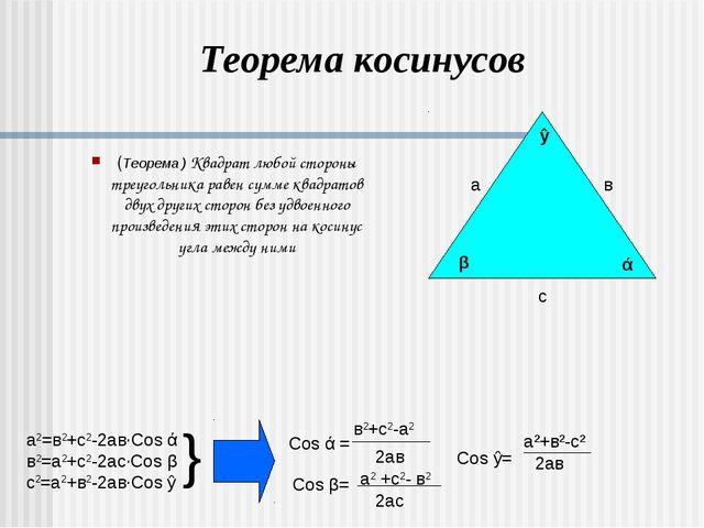 (Теорема ) Квадрат любой стороны треугольника равен сумме квадратов двух друг...