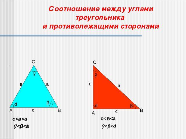 Соотношение между углами треугольника и противолежащими сторонами С с в В А а...