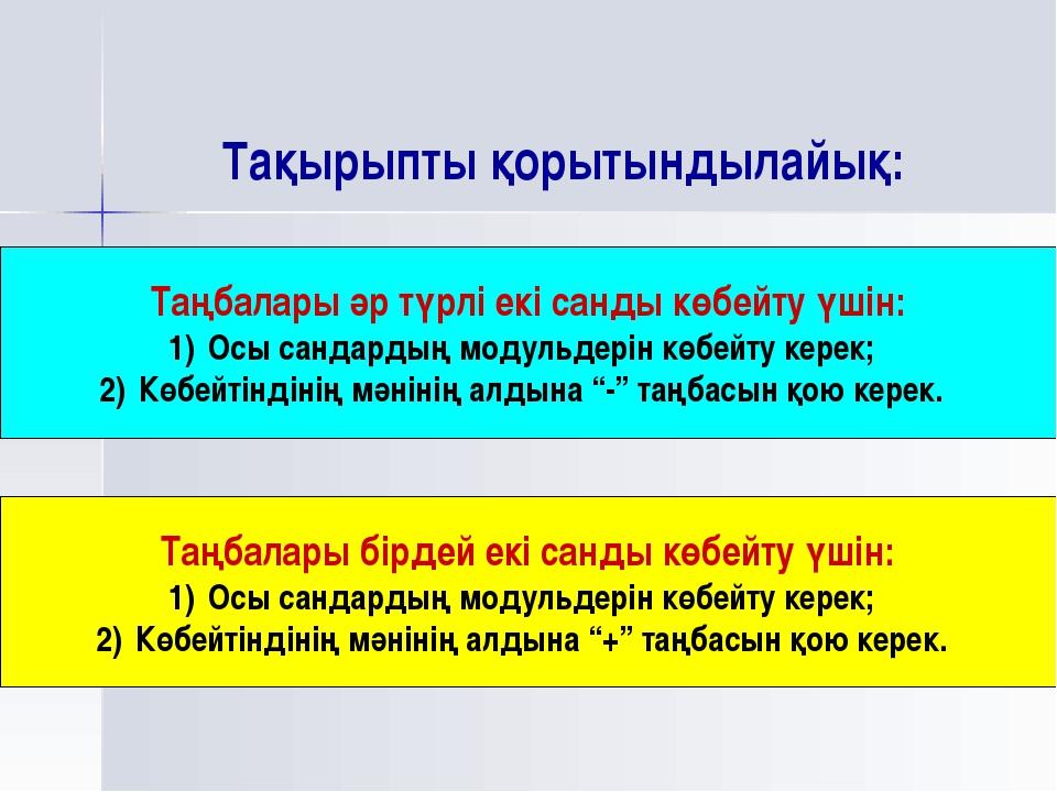 Тақырыпты қорытындылайық: Таңбалары әр түрлі екі санды көбейту үшін: Осы санд...