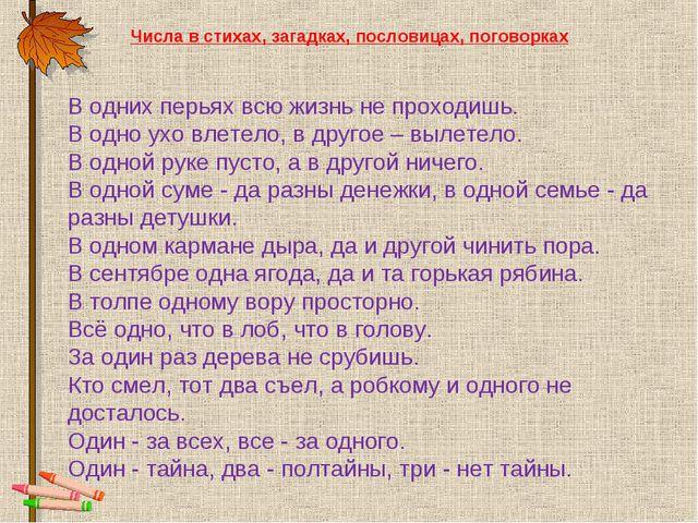 Числа в стихах, загадках, пословицах, поговорках В одних перьях всю жизнь не...