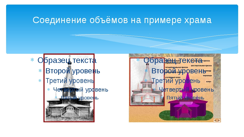 Соединение объёмов на примере храма