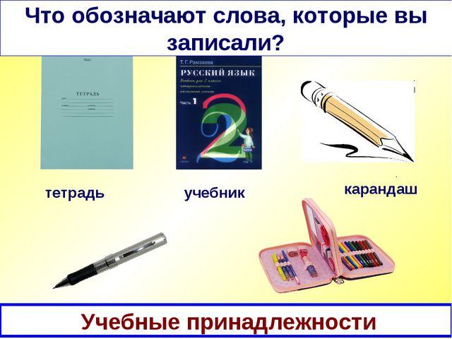 Картинный диктант тетрадь Что обозначают слова, которые вы записали? учебник...