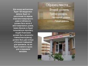 Для начала мой магазин будет 125 квадратных метров, будет он расположен на п