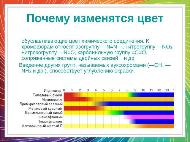 Почему изменятся цвет Хромофо́ры — ненасыщенные группы атомов, обуславливающи...