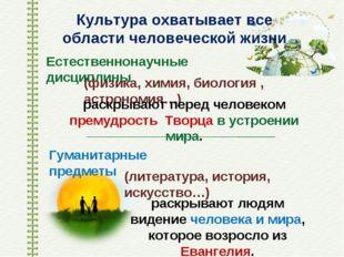 Культура охватывает все области человеческой жизни Естественнонаучные дисципл