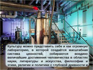 Культуру можно представить себе и как огромную лабораторию, в которой создаёт