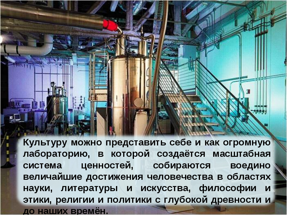 Культуру можно представить себе и как огромную лабораторию, в которой создаёт...