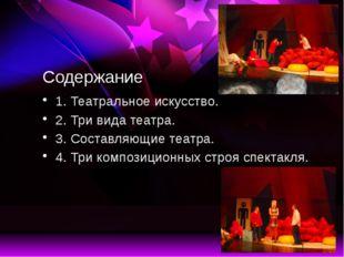 Три вида театра. Драматический, оперный и балетный