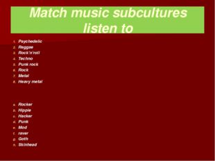 Match music subcultures listen to Psychedelic Reggae Rock'n'roll Techno Punk