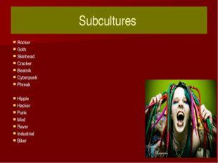 Subcultures Rocker Goth Skinhead Cracker Beatnik Cyberpunk Phreak Hippie Hack