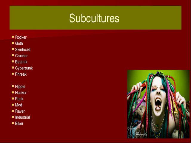 Subcultures Rocker Goth Skinhead Cracker Beatnik Cyberpunk Phreak Hippie Hack...