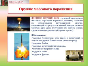 ЯДЕРНОЕ ОРУЖИЕ (ЯО) - основной вид оружия массового поражения взрывного дейст