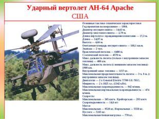 Ударный вертолет AH-64 Apache США Основные тактико-технические характеристики