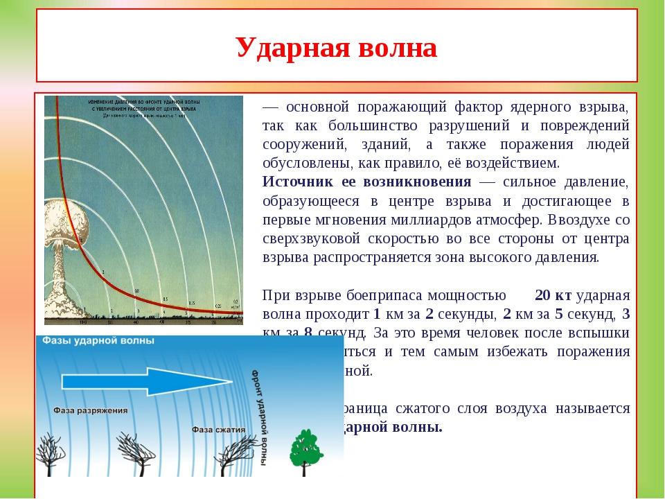 Ударная волна — основной поражающий фактор ядерного взрыва, так как большинст...