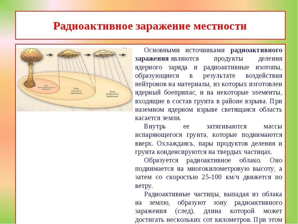 Радиоактивное заражение местности Основными источниками радиоактивного зараже...