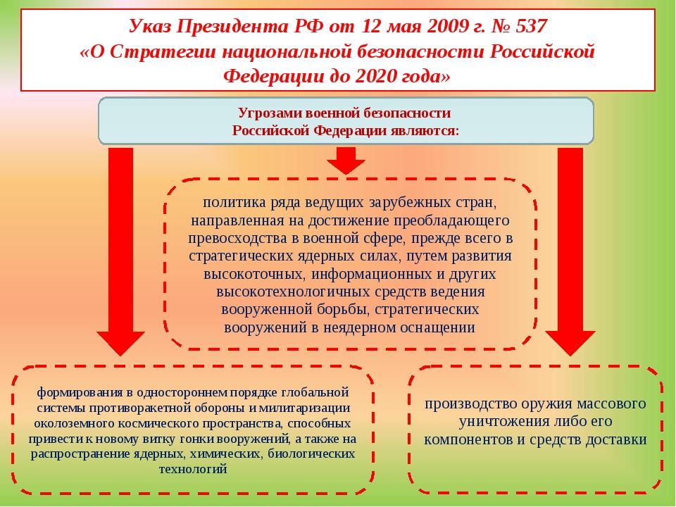 Указ Президента РФ от 12 мая 2009 г. № 537 «О Стратегии национальной безопасн...