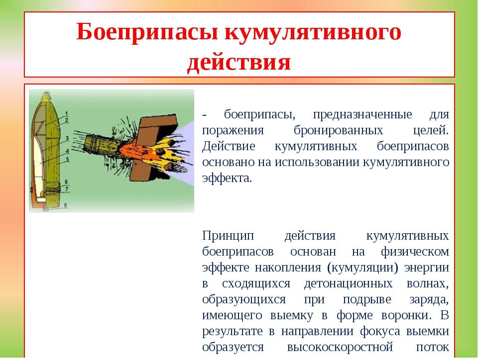 Боеприпасы кумулятивного действия - боеприпасы, предназначенные для поражения...