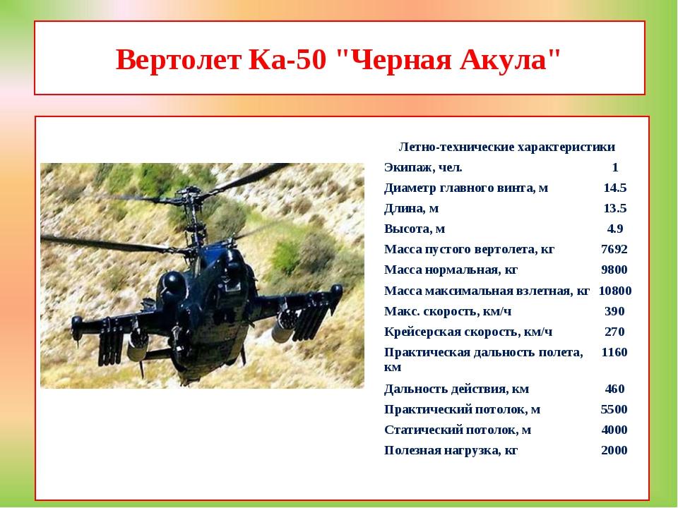 """Вертолет Ка-50 """"Черная Акула""""  Летно-технические характеристики Экипаж, че..."""