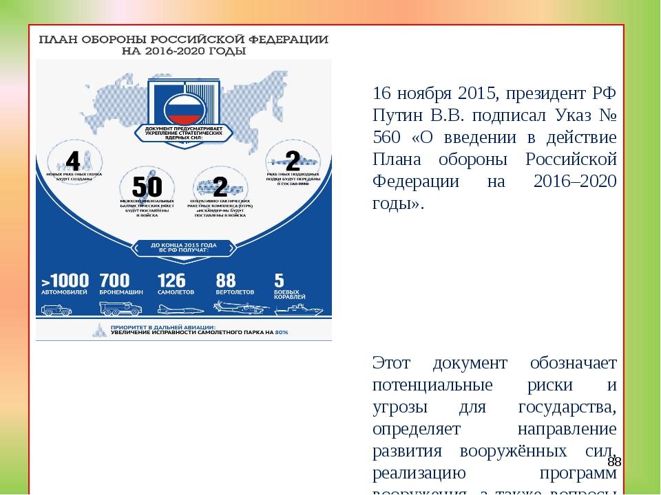 16 ноября 2015, президент РФ Путин В.В. подписал Указ № 560 «О введении в де...