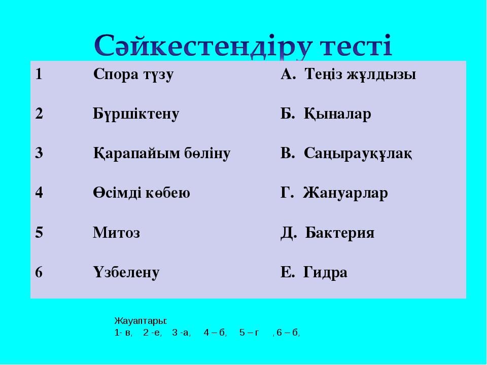 Жауаптары: 1- в, 2 -е, 3 -а, 4 – б, 5 – г , 6 – б, 1Спора түзу А. Теңіз жұл...