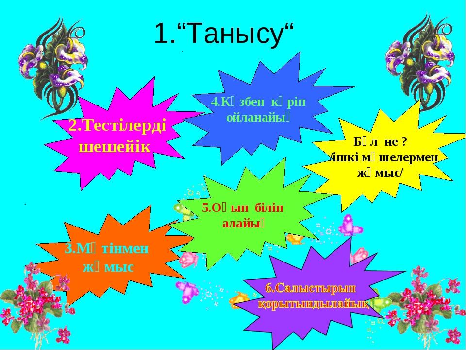 """1.""""Танысу"""" 2.Тестілерді шешейік 3.Мәтінмен жұмыс 4.Көзбен көріп ойланайық 5.О..."""