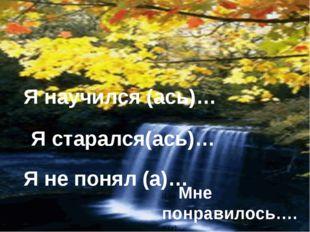 старался Я научился (ась)… Я старался(ась)… Я не понял (а)… Я не Мне понрави