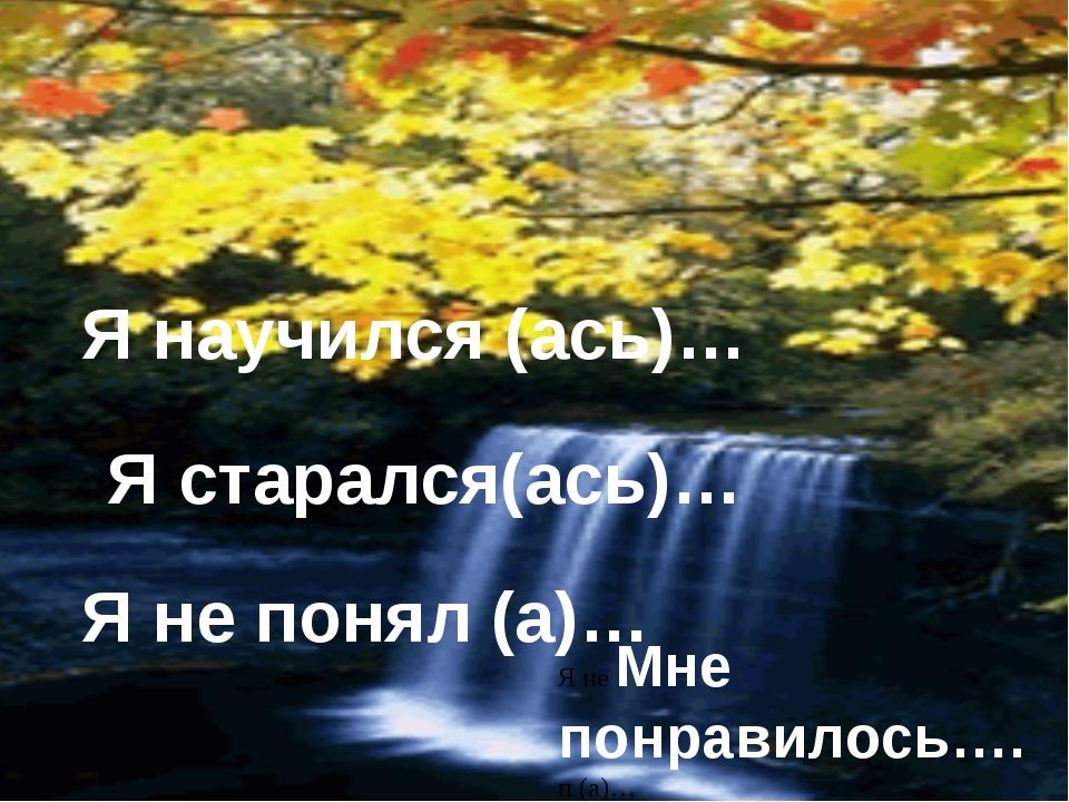 старался Я научился (ась)… Я старался(ась)… Я не понял (а)… Я не Мне понрави...