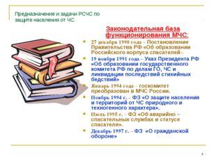 * Предназначение и задачи РСЧС по защите населения от ЧС. Законодательная баз