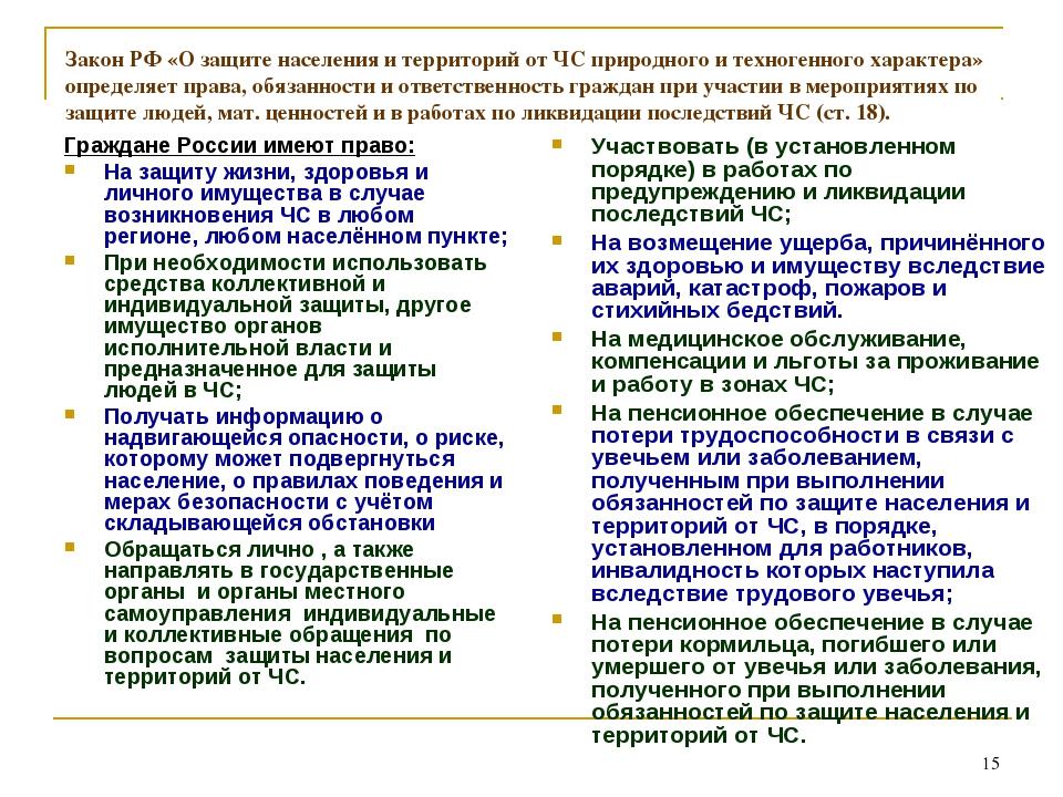 * Закон РФ «О защите населения и территорий от ЧС природного и техногенного х...