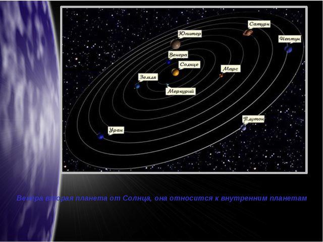 Венера вторая планета от Солнца, она относится к внутренним планетам
