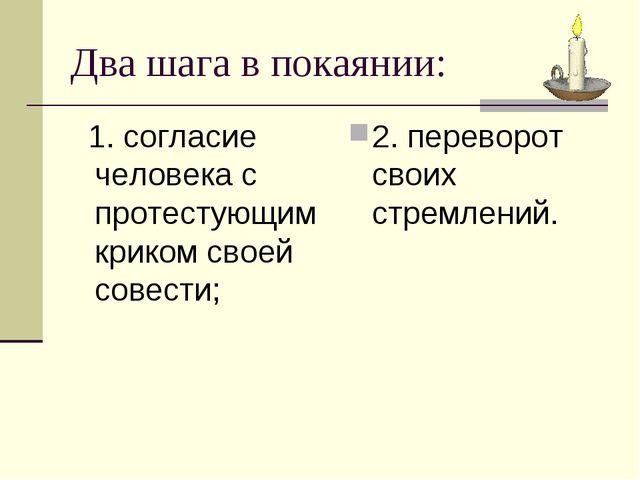 Два шага в покаянии: 1. согласие человека с протестующим криком своей совести...