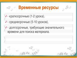 Временные ресурсы - краткосрочные (1-2 урока), - среднесрочные (5-10 уроков),