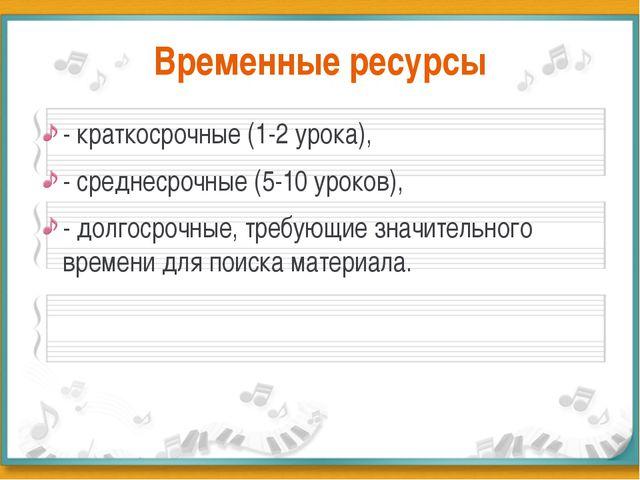 Временные ресурсы - краткосрочные (1-2 урока), - среднесрочные (5-10 уроков),...