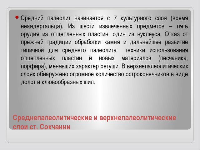 Среднепалеолитические и верхнепалеолитические слои ст. Сокчанни Средний палео...