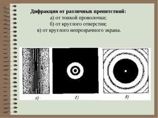Дифракция от различных препятствий: а) от тонкой проволочки; б) от круглого о