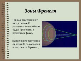 Зоны Френеля Так как расстояния от них до точки О различны, то колебания буду
