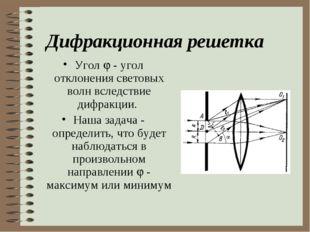 Дифракционная решетка Угол  - угол отклонения световых волн вследствие дифра