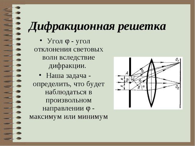 Дифракционная решетка Угол  - угол отклонения световых волн вследствие дифра...