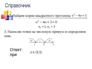 2. Найдем корни квадратного трехчлена 3. Наносим точки на числовую прямую и о