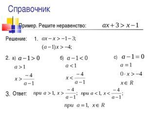 Пример. Решите неравенство: Решение: 1. 2. 3. а) б) с) Ответ: Справочник