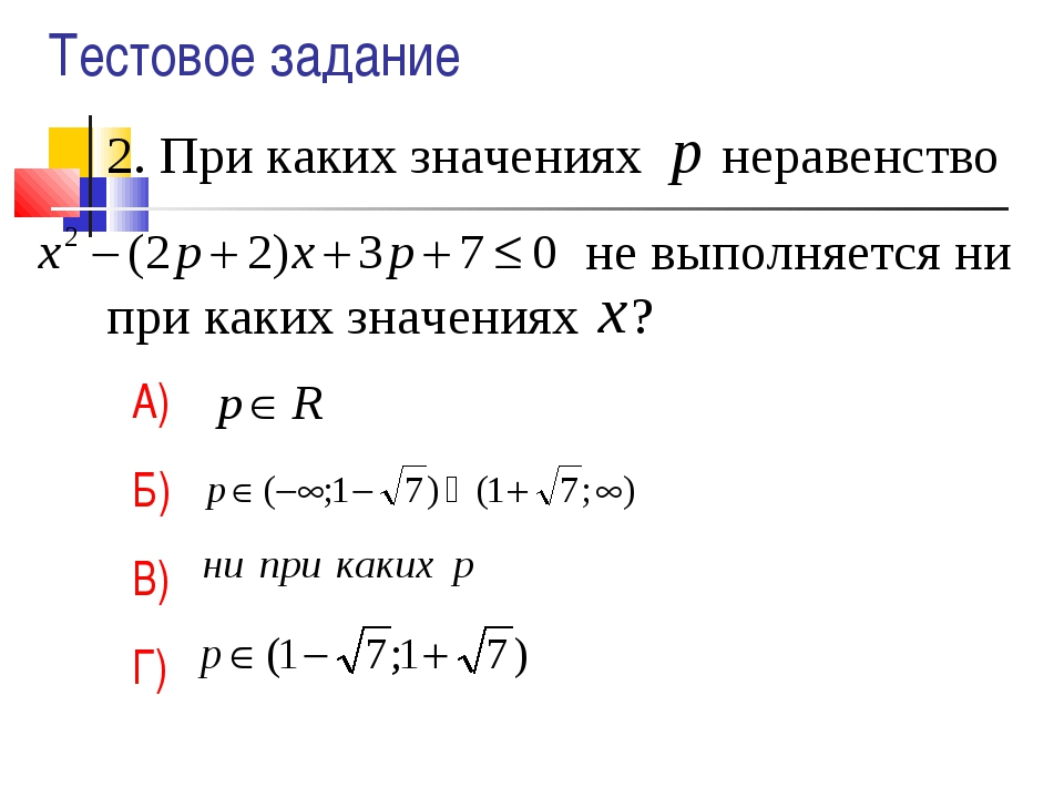 2. При каких значениях неравенство не выполняется ни при каких значениях ? А)...