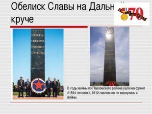 Обелиск Славы на Дальней круче В годы войны из Павловского района ушли на фро