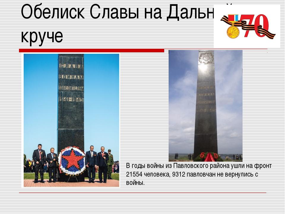 Обелиск Славы на Дальней круче В годы войны из Павловского района ушли на фро...