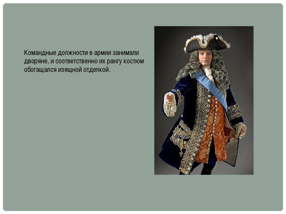 Командные должности в армии занимали дворяне, и соответственно их рангу костю...