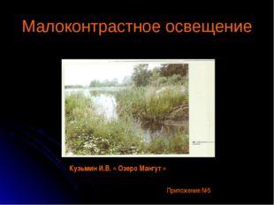 Малоконтрастное освещение Кузьмин И.В. « Озеро Мангут » Приложение №5