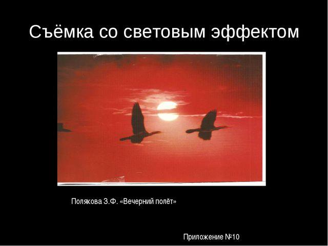 Съёмка со световым эффектом Полякова З.Ф. «Вечерний полёт» Приложение №10