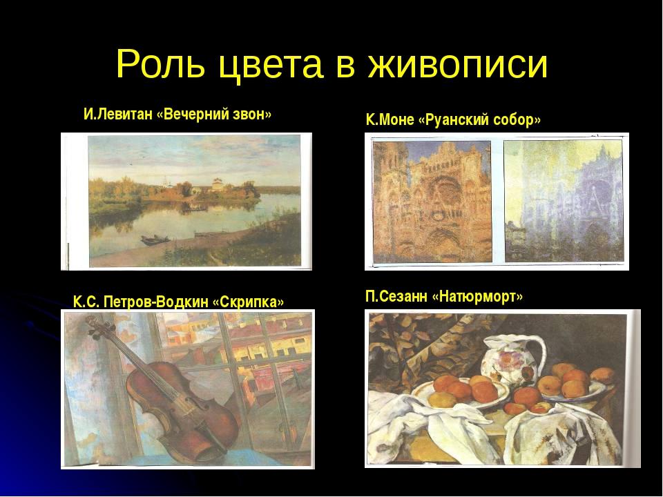 Роль цвета в живописи И.Левитан «Вечерний звон» К.Моне «Руанский собор» К.С....